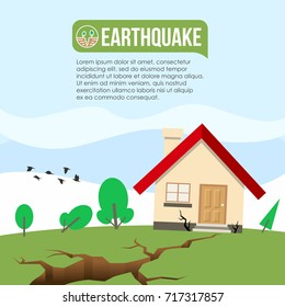 Earthquake Disaster with Ground crevice and House crack vector design