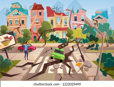 Earthquake Disaster with realistic ground crevices and small destroyed town houses vector illustration design.