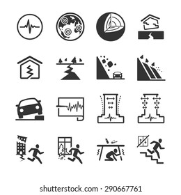 Earthquake and geology icon set. Included the icons as landslide, disaster, emergency, urgent, evacuate, rescue and more.