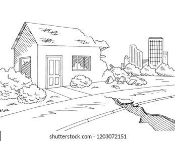 Earthquake graphic black white landscape city sketch illustration vector