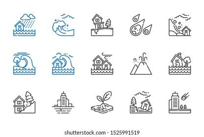 earthquake icons set. Collection of earthquake with meteorite, drought, flood, landslide, eruption, tsunami. Editable and scalable earthquake icons.