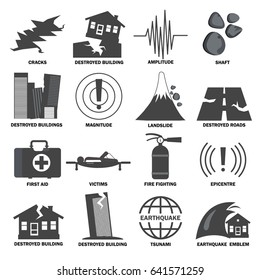 Earthquake icons set. Monochrome  signs and symbols collection. Concept of natural disaster insurance. Isolated. Vector.
