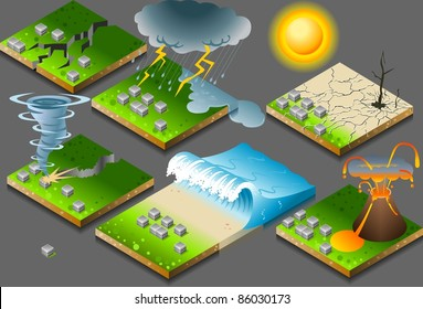 Earthquake Isometric Nature Disaster Flood Tiles. Tornado. Tsunami Inundation. Isometric Drought barren concept Tsunami Earthquake Icon Disaster Picture. Flood Illustration 3d Disaster Vector Nature