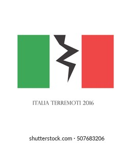 """The earthquake in Italy. Italian flag with split and with phrase """"Italy earthquakes 2016""""."""