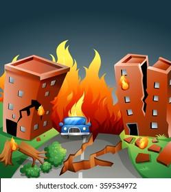 Earthquake Major Fire City Illustration Stock Vector Royalty Free 359534972
