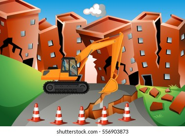 Earthquake scene with bulldozer and buildings illustration