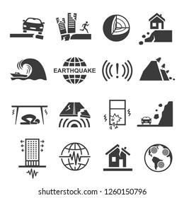Earthquake tsunami disaster and destruction black icon set. Quake, tremor or temblor, shaking of the surface of the Earth. Vector line art illustration on white background