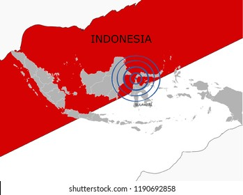 Earthquake and tsunami phenomenon in Sulawesi, Indonesia map with flag illustration vector