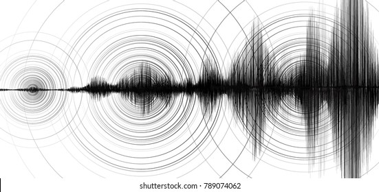 Earthquake Wave with Circle Vibration on White paper background,audio wave diagram concept,design for education and science,Vector Illustration.