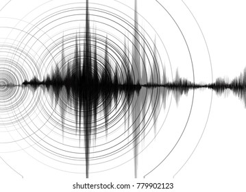 Earthquake Wave High richter scale with Circle Vibration on White paper background,audio wave diagram concept,design for education and science,Vector Illustration.