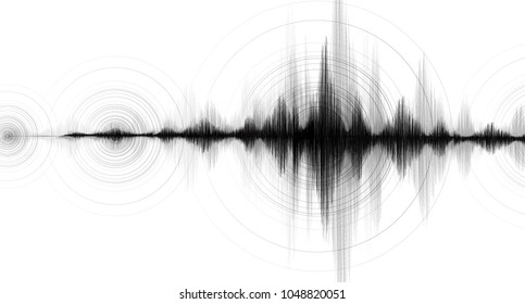 Earthquake Wave Low and Hight richter scale with Circle Vibration on White paper background,audio wave diagram concept,design for education and science,Vector Illustration.