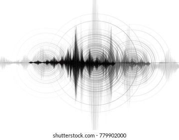 Earthquake Wave low richter scale with Circle Vibration on White paper background,audio wave diagram concept,design for education and science,Vector Illustration.