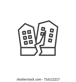 Earthquakes line icon, outline vector sign, linear style pictogram isolated on white. Symbol, logo illustration. Editable stroke