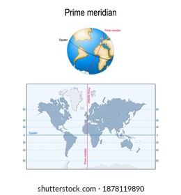 Earth's Equator, and Prime meridian on a globe. map with parallels, longitude and latitude. Geographic coordinate system