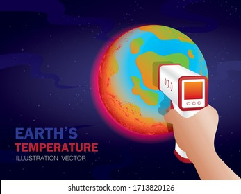 Earth's temperature illustration vector with copy space.