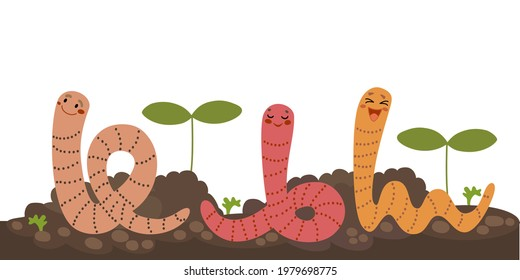 Earthworms with growth plants. Cute worms working in garden soil. Organic agriculture concept. Funny cartoon characters, hand drawn vector illustration