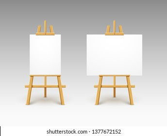 Easel canvas stand vector board isolated. Wooden easel art painting paper frame stand or poster.
