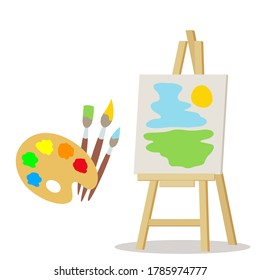 Easel and colorful palette with paints, paint brushes. Artist's elements. Banner for the school of drawing. Vector illustration, flat design, cartoon style, isolated on white background.