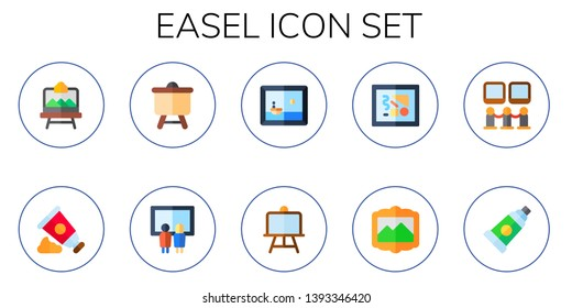easel icon set. 10 flat easel icons.  Collection Of - artboard, paint tube, canvas, painting, art museum