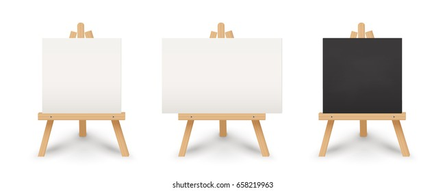 Easel set. Includes blank canvas and chalkboard. Isolated vector design.