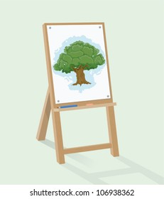 Easel and tree drawing