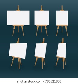 Easel vector illustration. Front view and side view isolated easels set.