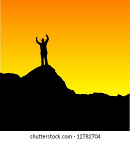 Easily editable vector of a woman standing on top of a mountain at sunset