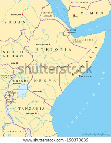 East Africa Political Map Political Map Stock Vector Royalty Free