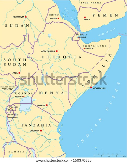 East Africa Political Map Political Map Stock Vector ...