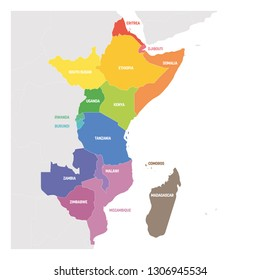 East Africa Region. Colorful map of countries in eastern Africa. Vector illustration.