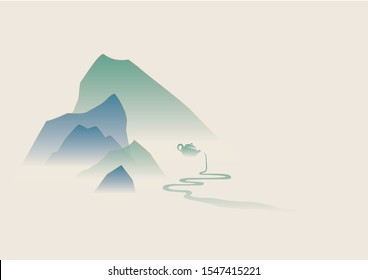 East Asia culture background of mountain & tea, ink painting style