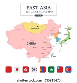 East Asia Map Full Color High Detail Separated all countries Vector Illustration