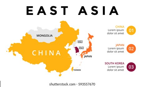 East Asia map infographic. Slide presentation. Global business marketing concept. Color country. World transportation data. Economic statistic template.