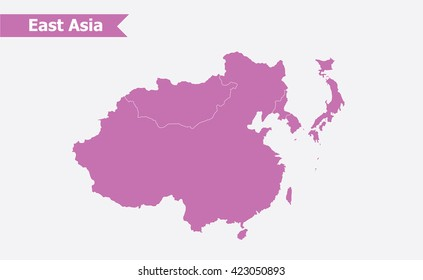 East asia map, vector illustration