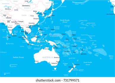 East Asia and Oceania Map - Detailed Vector Illustration
