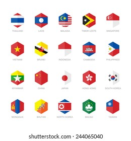 East Asia and South East Asia Flag Icons. Hexagon Flat Design.