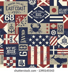 East coast Nautical flags and symbols patchwork vector seamless pattern grunge effect in separate layer