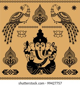 East decorative ornament of the deity Ganesha and birds on a beige background