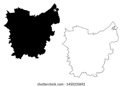 East Flanders Province (Kingdom of Belgium, Provinces of Belgium, Flemish Region) map vector illustration, scribble sketch East Flanders map