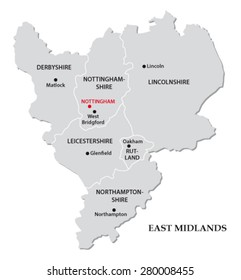 east midlands administrative map