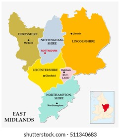 east midlands administrative and political map