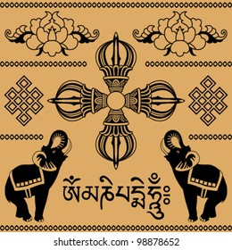east pattern of elephants, Buddhist decorative floral elements, text in Sanskrit on a beige background
