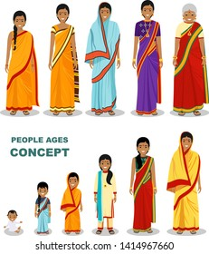 East people generations at different ages isolated on white background in flat style. Indian woman aging: baby, child, teenager, young, adult, old people. Vector illustration.