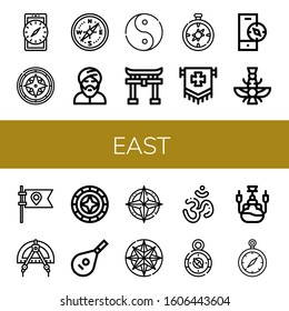 east simple icons set. Contains such icons as Compass, Muslim, Ying yang, Shinto, Flag, Faravahar, Windrose, Lute, Om, Hookah, can be used for web, mobile and logo