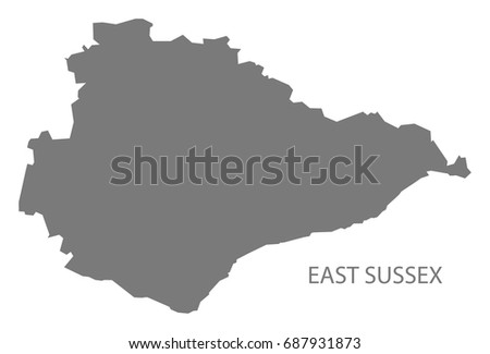 East Sussex County Map England Uk Stock Vector Royalty Free