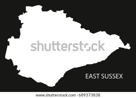 East Sussex England Uk Map Black Stock Vector Royalty Free