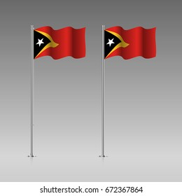 East Timor flag on the flagpole. Official colors and proportion correctly. High detailed vector illustration. 3d and isometry. EPS10