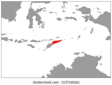 East timor map on gray base