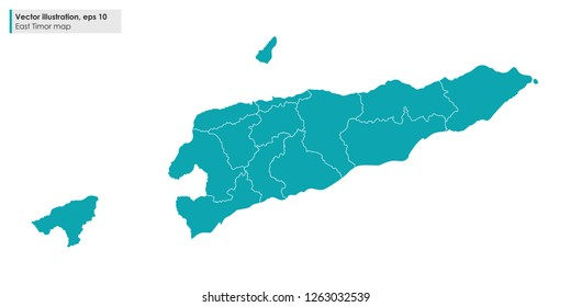east timor map with regions vector illustration on white background