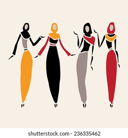 East women in veiled. Beautiful silhouette. Vector illustration.